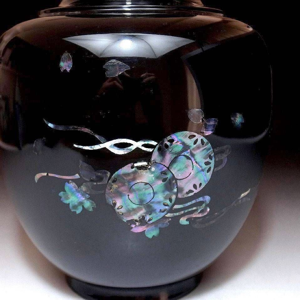 Lacquered wood vase with inlaid abalone shell decoration of japanese vintage lacquer on wood vase with seashell inlay drums and cherry blossoms previously reduced reviewsmspy