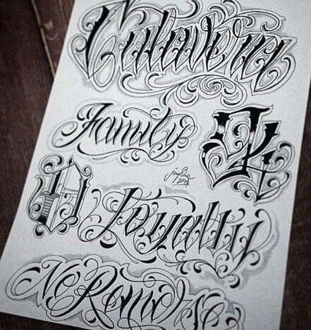 Chicano Lettering Chicano Tipografía Tattoo Caligrafía Y