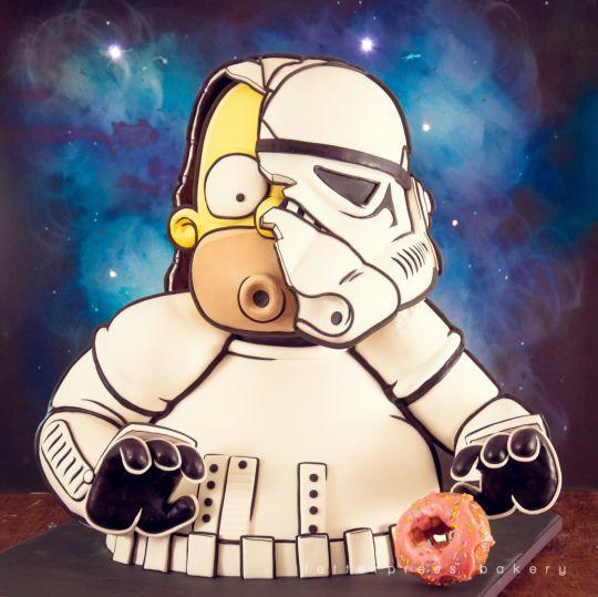 Stormtrooper Homer - Cake by Letterpress Bakery - CakesDecor