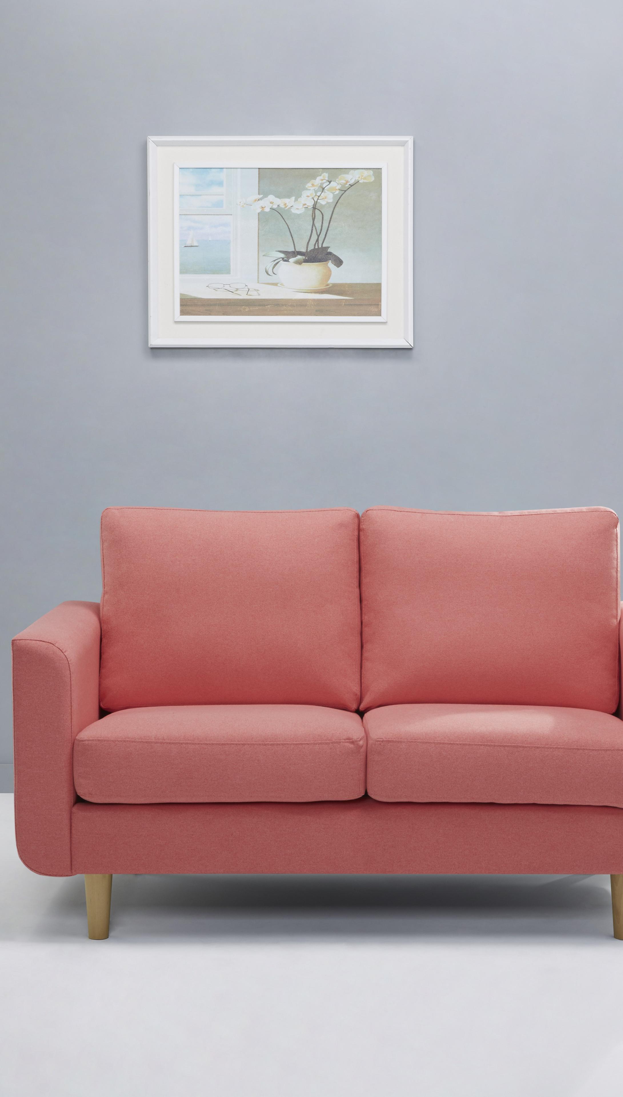 Modernes Soda Mit Holzbeinen In Rosa Grau Schwarz Und Blau 2 Sitzer Sofa Wohnraum Zimmer