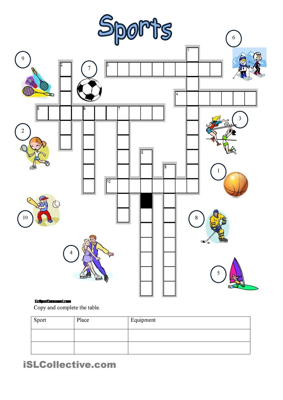 sports crossword engelse hulpsteuntjes sports crossword sports en crossword. Black Bedroom Furniture Sets. Home Design Ideas