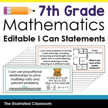 Common Core Standards I Can Statements For 7th Grade Math
