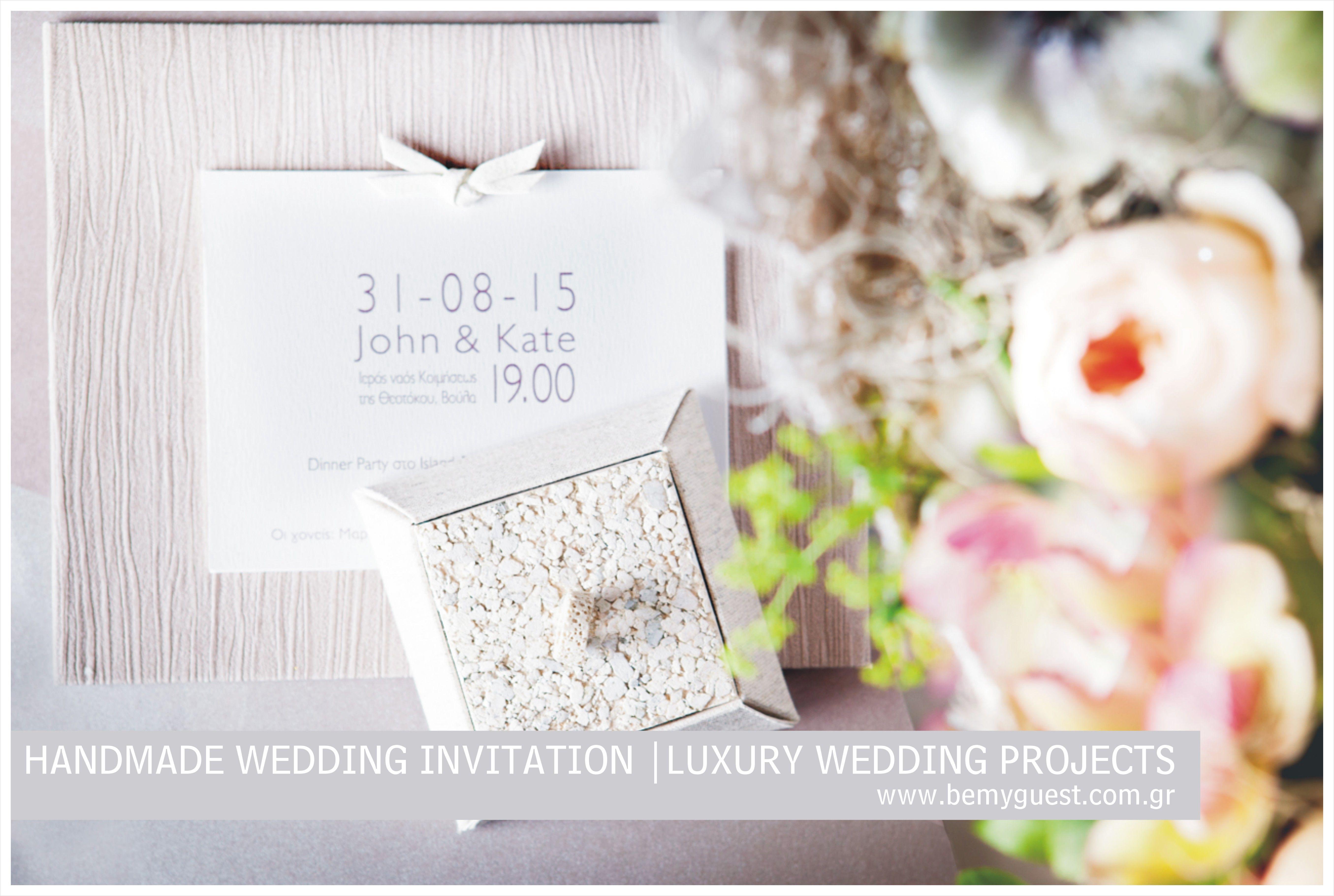 handmade wedding invitation | grey & pink | unique favors box ...