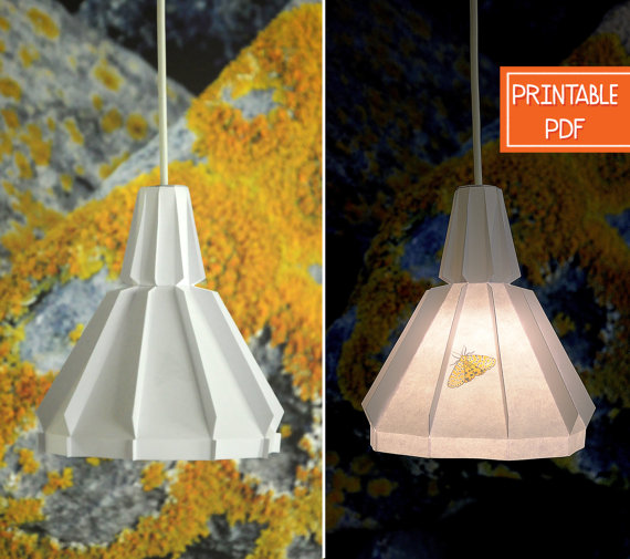 Paper pendant light yellow moth printable diy lamp geometric paper pendant light yellow moth printable diy lamp geometric lighting origami lampshade mozeypictures Images