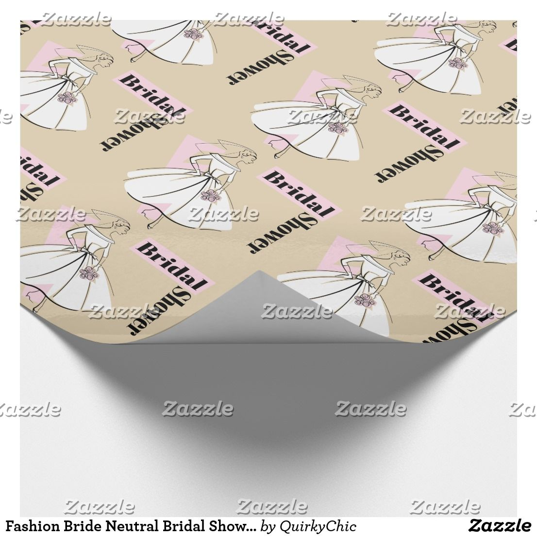 fashion bride neutral bridal shower wrapping paper