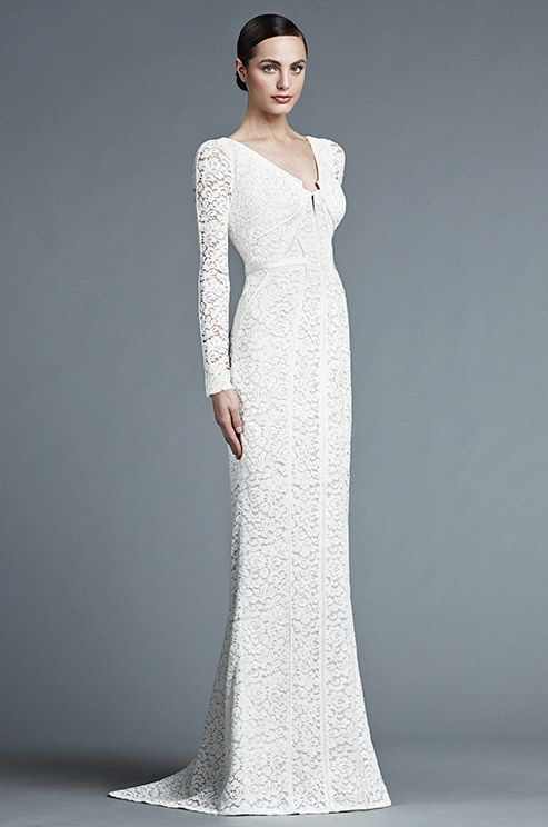 A floral-lace patterned column gown by J. Mendel has sleeves to the ...