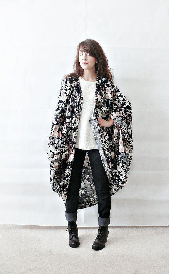 FLORAL KIMONO JACKET//plus size,batwing cardigan,floral kimono ...
