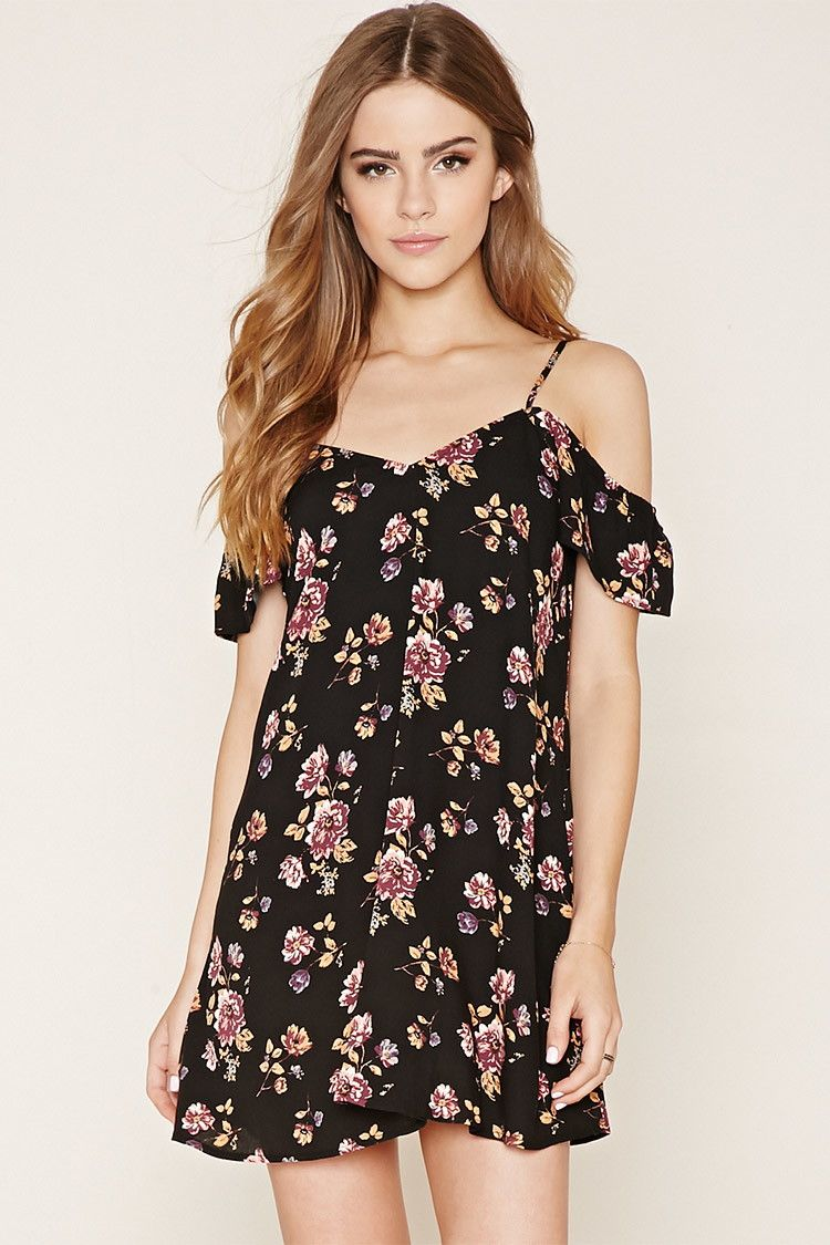 Women Cold Shoulder Strappy Mini Dress Ladies Floral Boho Ruffled Dress Casual