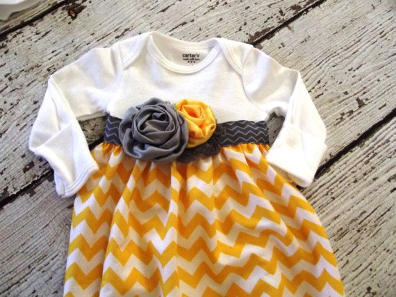 Baby girl onesie sack gown or dress in yellow chevron with gray and yellow shabby flower trim. on Etsy, $24.00