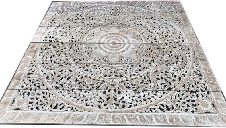 Mandala Wood Carved Headboard King Size, Wood Carving Panel 72 x 72 inches, Lotus Wood Carving Home