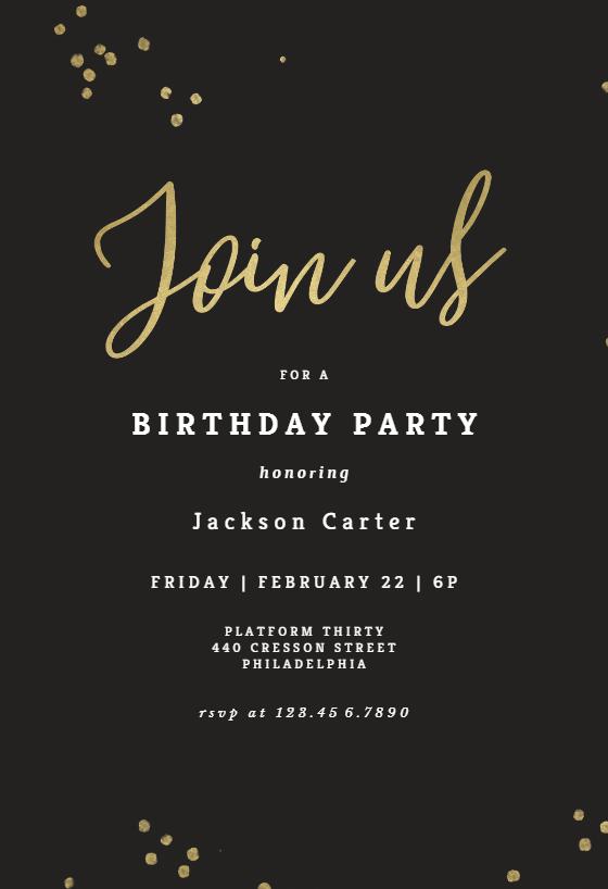 minimal confetti birthday invitation