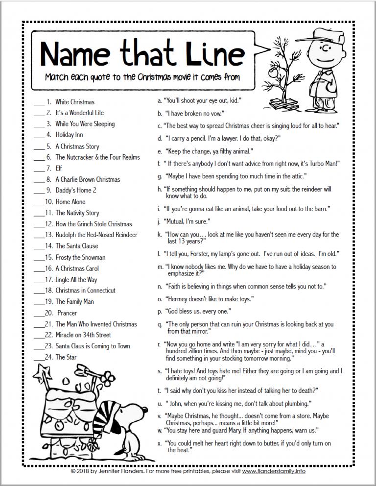 Name that Line Christmas Movie Game Printable