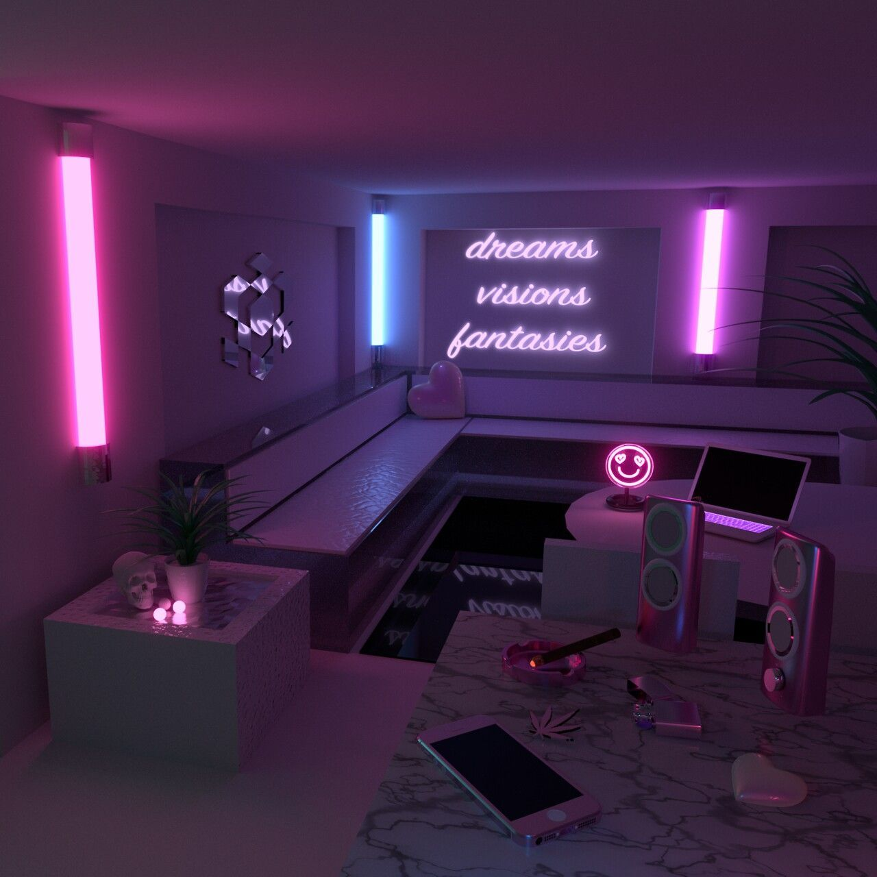 Aesthetic Room Neon Bedroom Aesthetic Rooms Aesthetic Room Decor #neon #lights #living #room