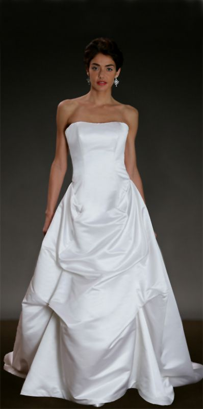 Satin Column Gown With Dramatically Draped Duchess And Mixed Duchess