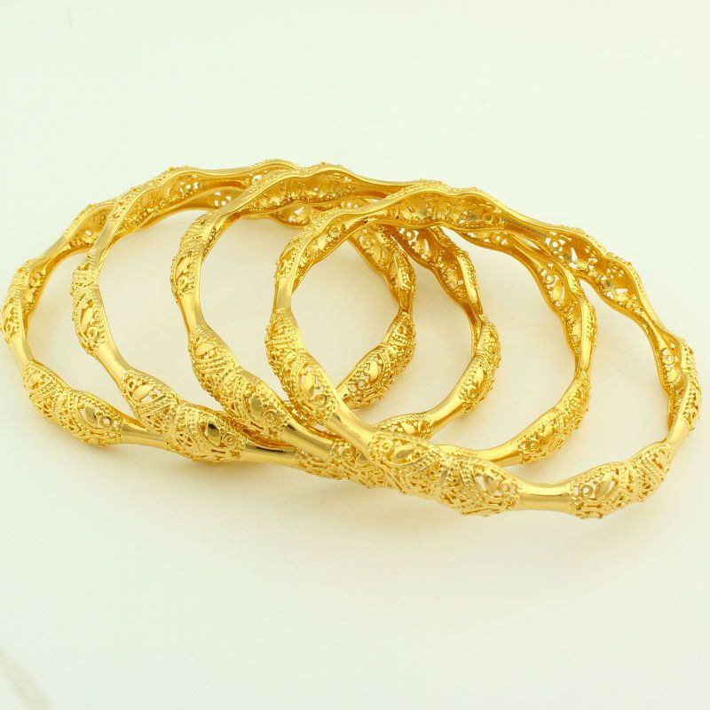 Engagement & Wedding Jewelry & Watches 18k Goldplated Ethnic 4pc Bangle Set Bracelet Party Jewellery 2*10 Less Expensive