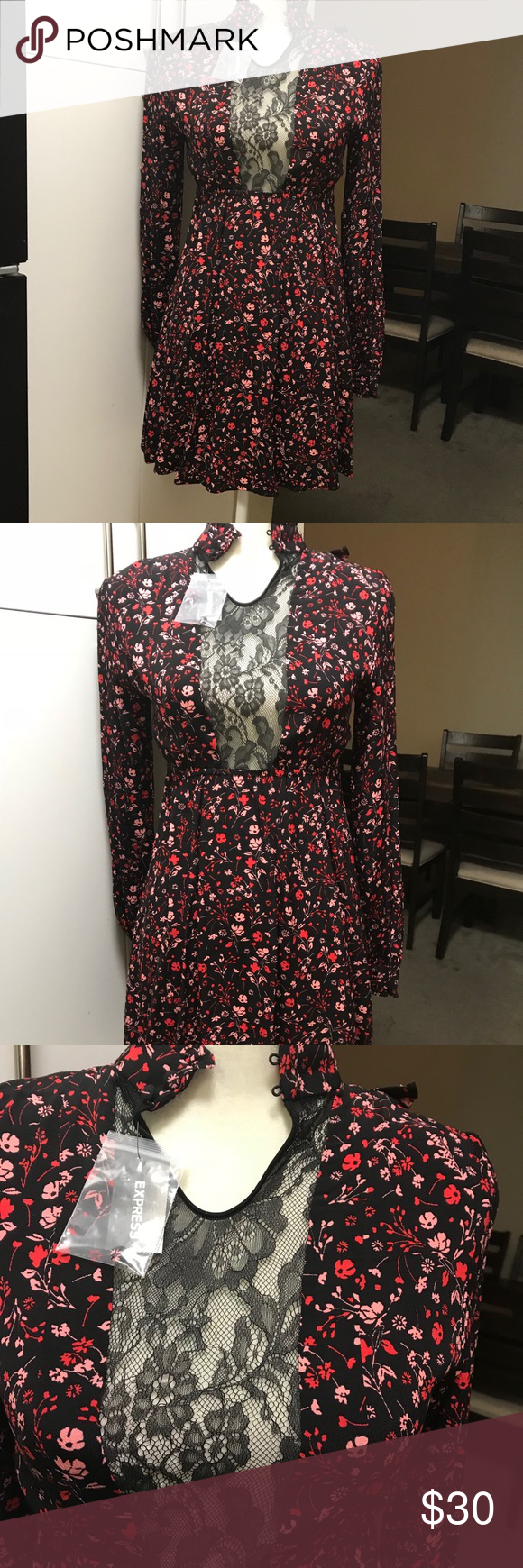 Dress With Long Sleeves Printed Floral Dress With Long Sleeves Material Crepe Color Black Base With Red And Clothes Design Express Dresses Long Sleeve Dress [ 1740 x 580 Pixel ]