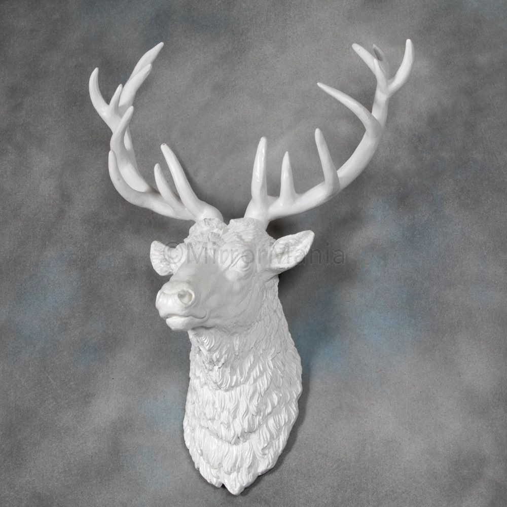 Large Antique White Stag Wall Head - Home Styling | Decor ...