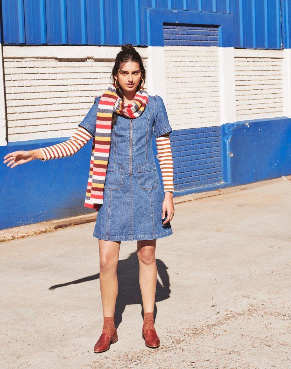 337d69ef22 madewell denim a-line zip dress, carousel stripe scarf, northside  long-sleeve vintage tee, the frances loafer + night sparkle ribbed ankle  socks.