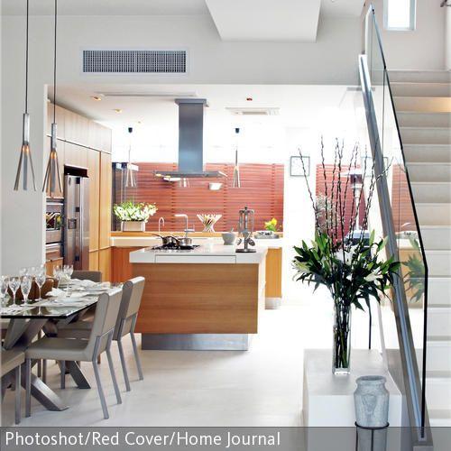 Zusammenspiel von Holz und Metall in offener Wohnküche Kitchen - offene wohnkchen