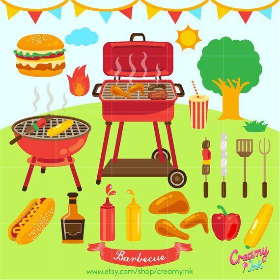 barbecue digital clip art bbq party digital clipart design rh pinterest com