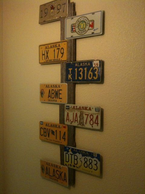 My New Creation Using Alaska License Plates And An Old Iowa Barn Board