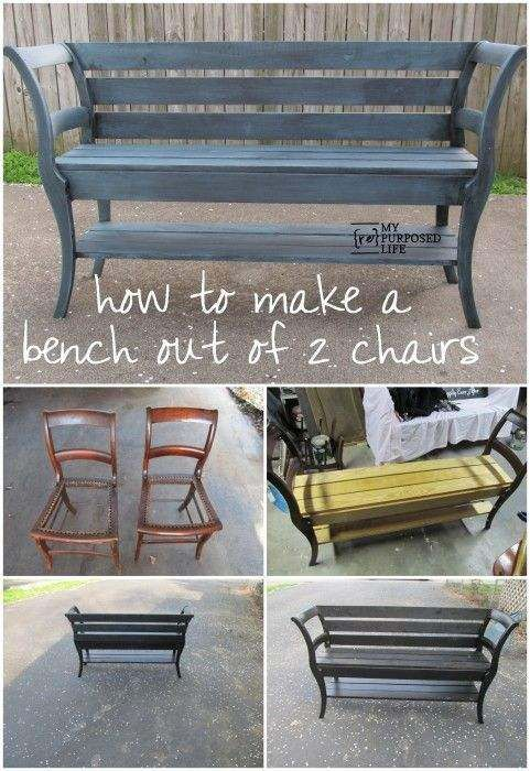 Chairs Into Bench Upcycle Redo Furniture Furniture Making A Bench