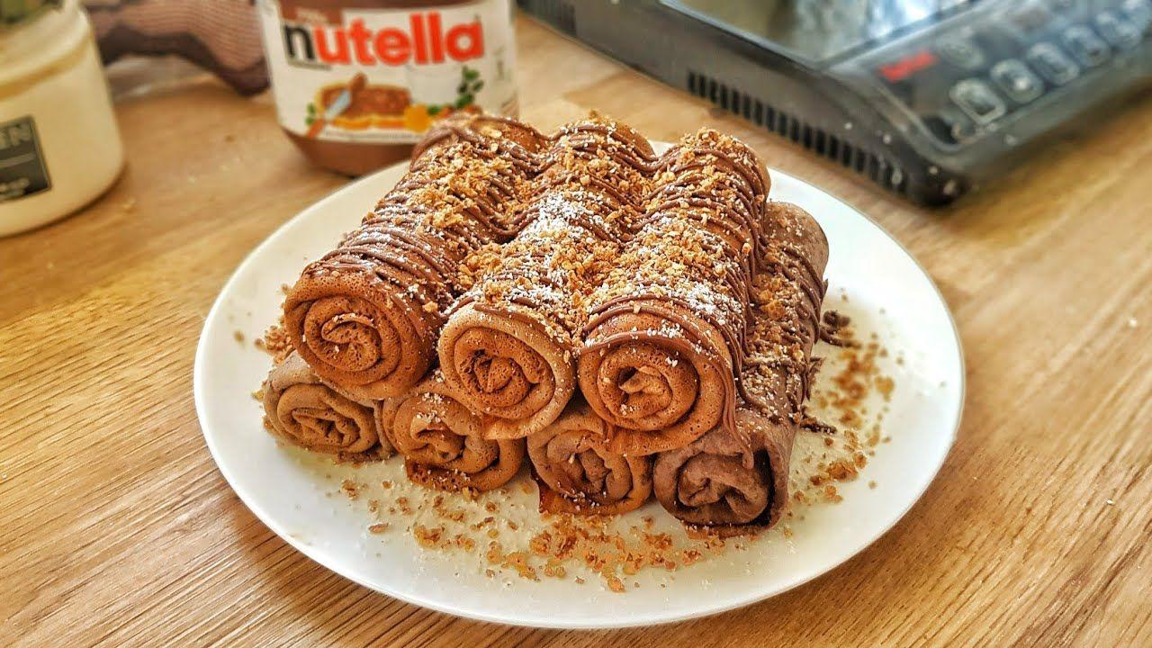 كريب نوتيلا ناجحة من اول تجربة Crepes Nutella Youtube Nutella Food Desserts
