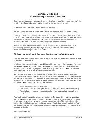 How To Answer The 64 Toughest Interview Questions   Tough ...