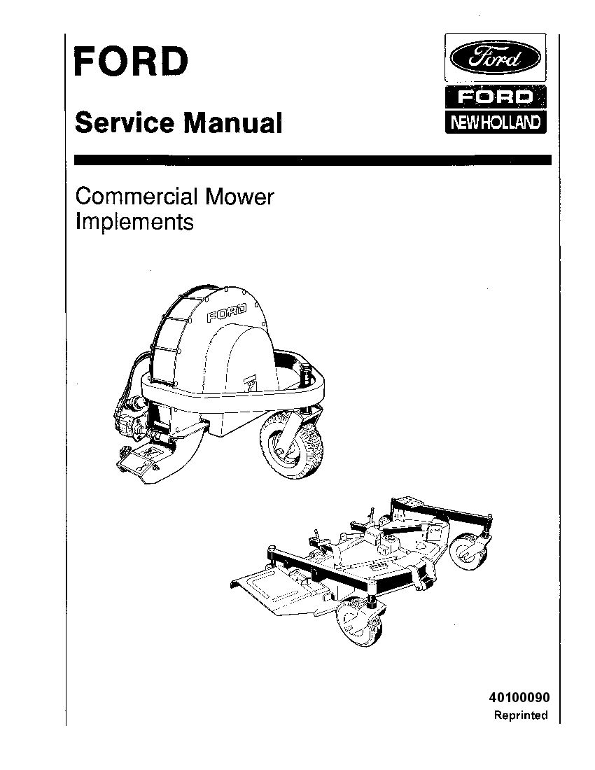 Ford Commercial Mower implement Workshop Repair Service