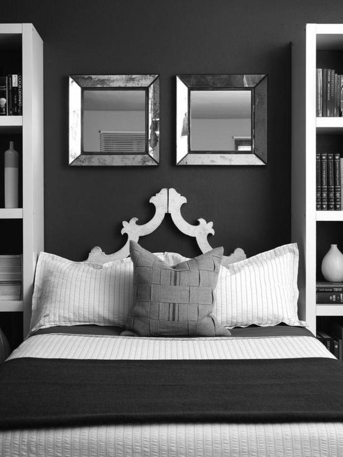 amazing schlafzimmer dunkelgrau #1: schlafzimmer grau dunkelgrau wandspiegel helle akzente