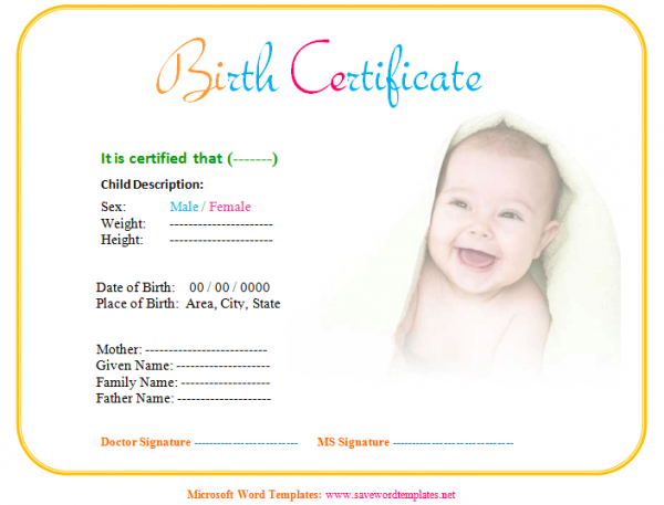 Baby Birth Certificate Template – Birth Certificate Word Template