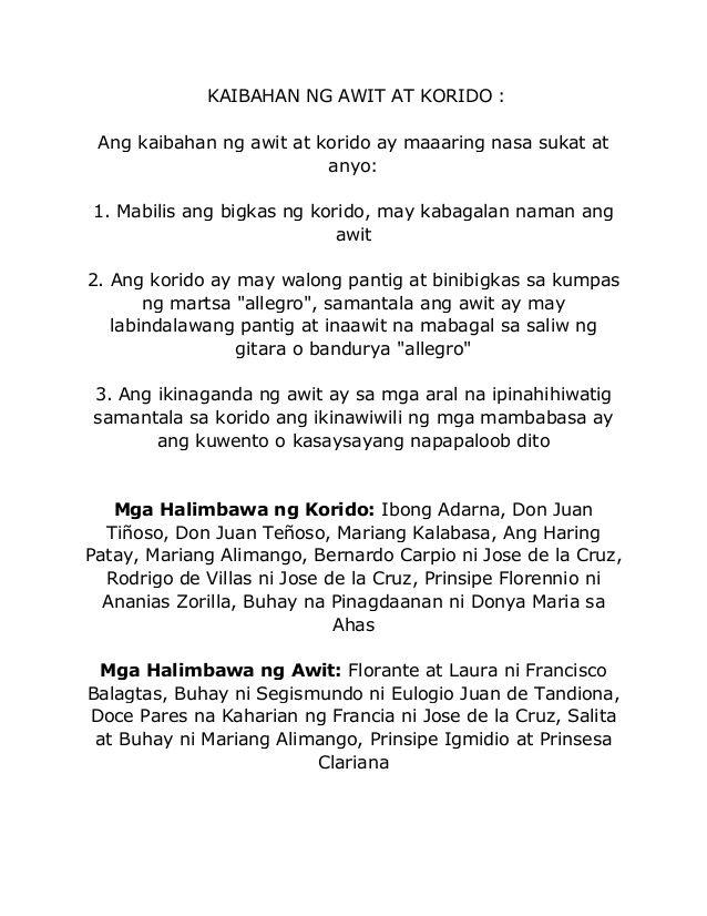 KAIBAHAN NG AWIT AT KORIDO  Ang kaibahan ng awit at korido ay - sample severance agreement