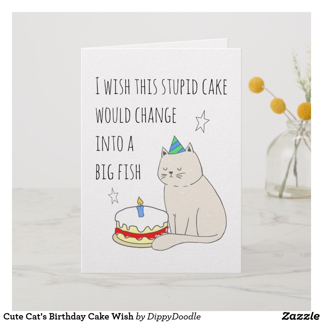 Cute Cats Birthday Cake Wish Card For Cat Lovers