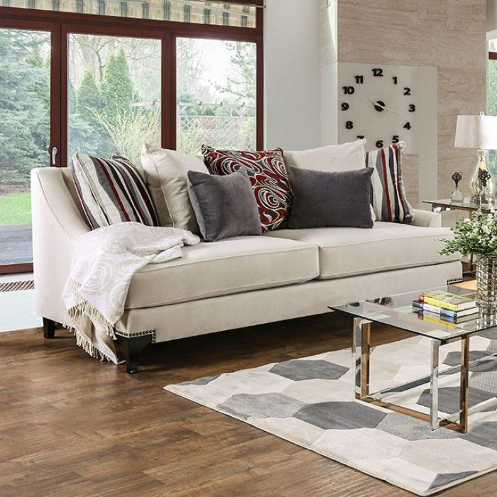 Furniture Of America Viscontti Ivory Sofa And Loveseat Set Sm2206 For 1479