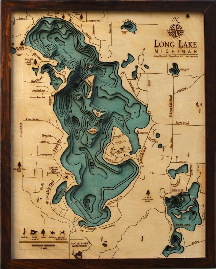 underwater maps of lakes Wooden Topographical Maps Reveal Underwater Depths Wooden Map underwater maps of lakes