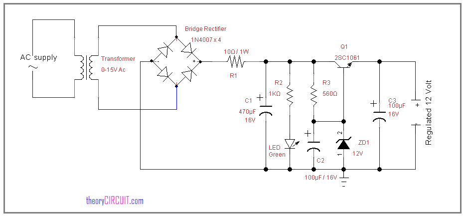 12 Volt Regulated Power Supply Circuit Using Zener Diode Power Supply Circuit Power Supply Diode