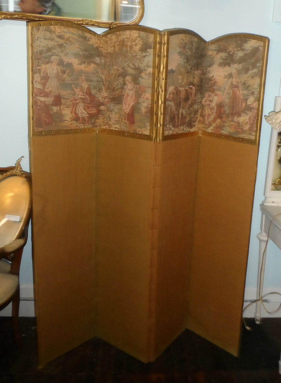 Sale vintage room divider tapestry so french chic victorian