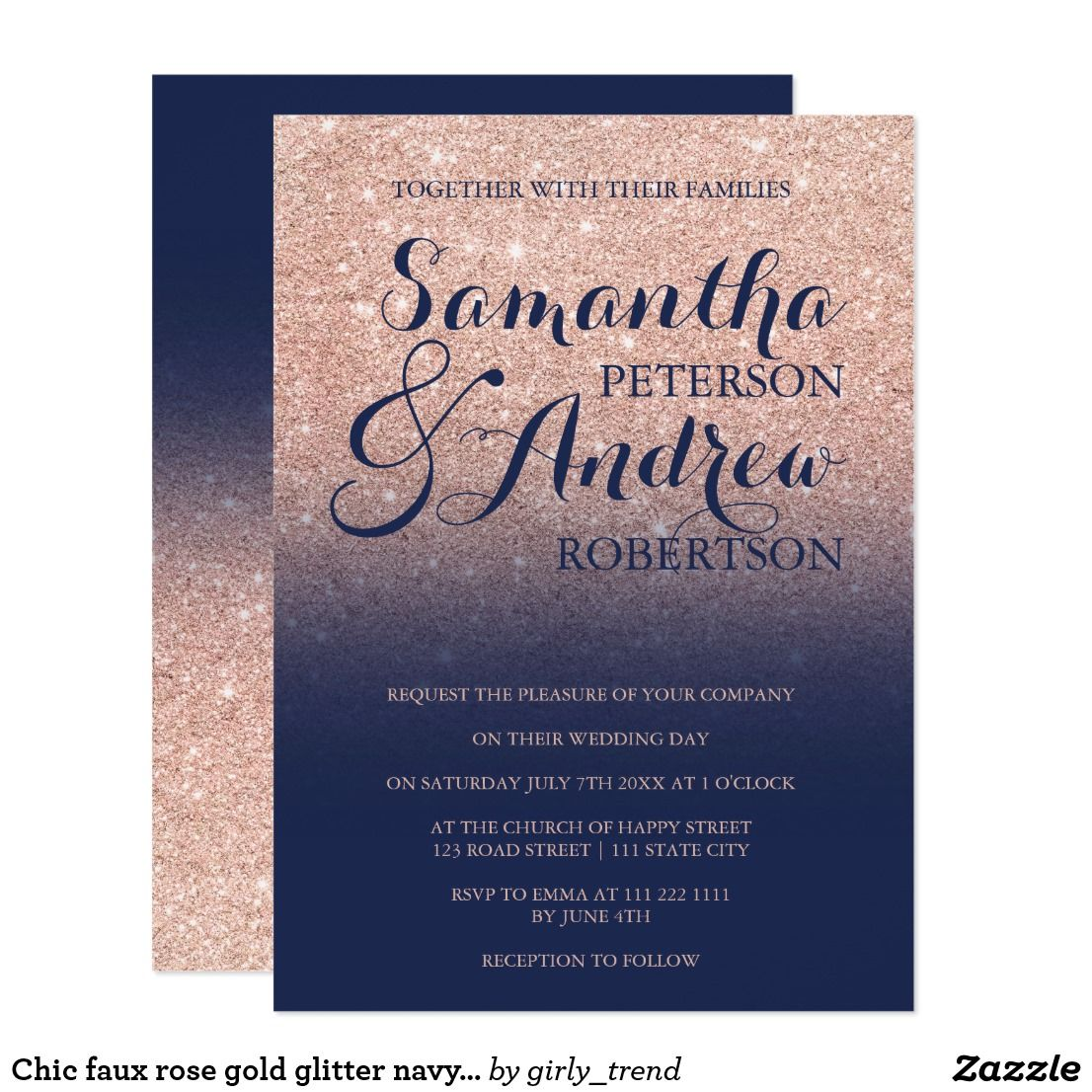 chic faux rose gold glitter navy blue wedding card chic faux rose gold glitter navy blue wedding invitation suite collection a modern pretty faux rose