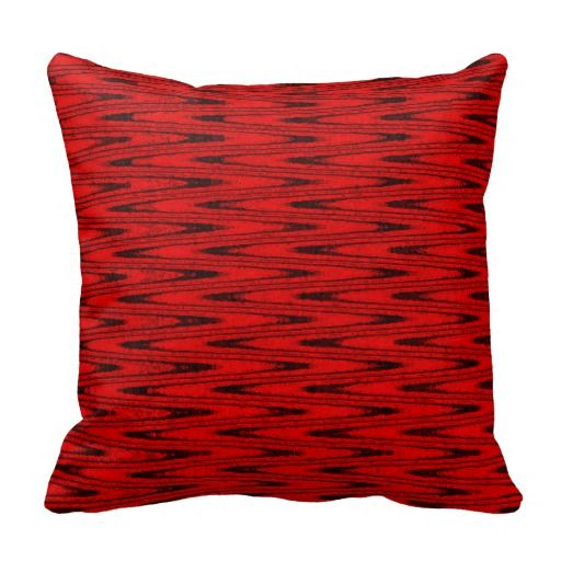 Red and Black ZigZag Throw Pillow