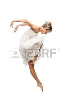 beautiful young caucasian dancing woman isolated on white background Stock Photo