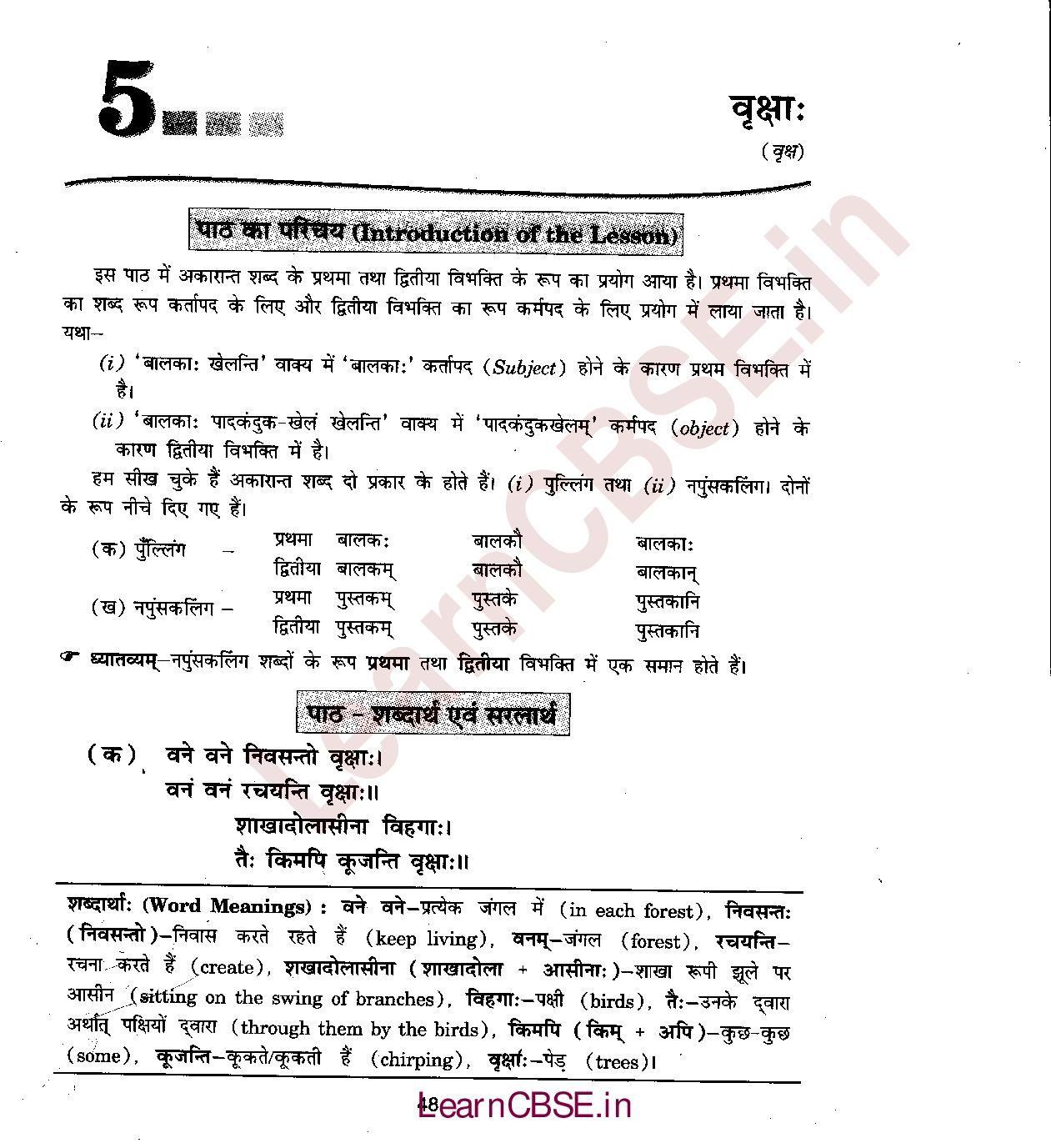 Ncert Solutions For Class 6th Sanskrit Chapter 5 Dvitiiyaa