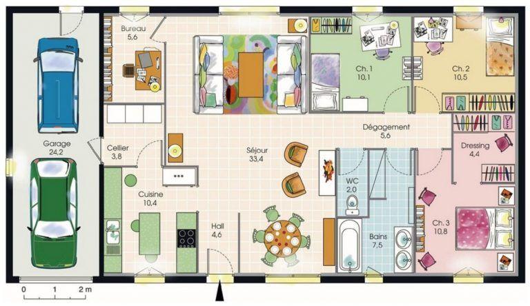Modele De Plan De Maison Plain Pied Avec 3 Chambres Et Garage 2