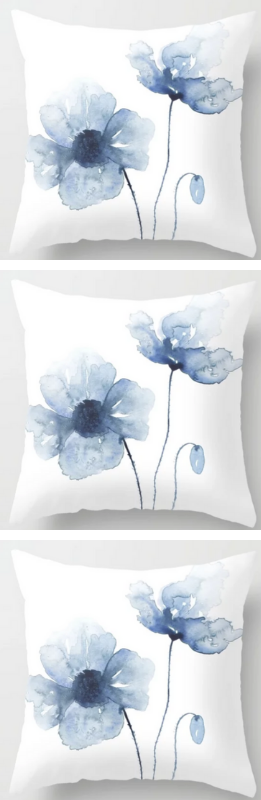 Blue Watercolor Poppies Throw Pillow Living Room Art Living Room Decor Colors Watercolor Poppies
