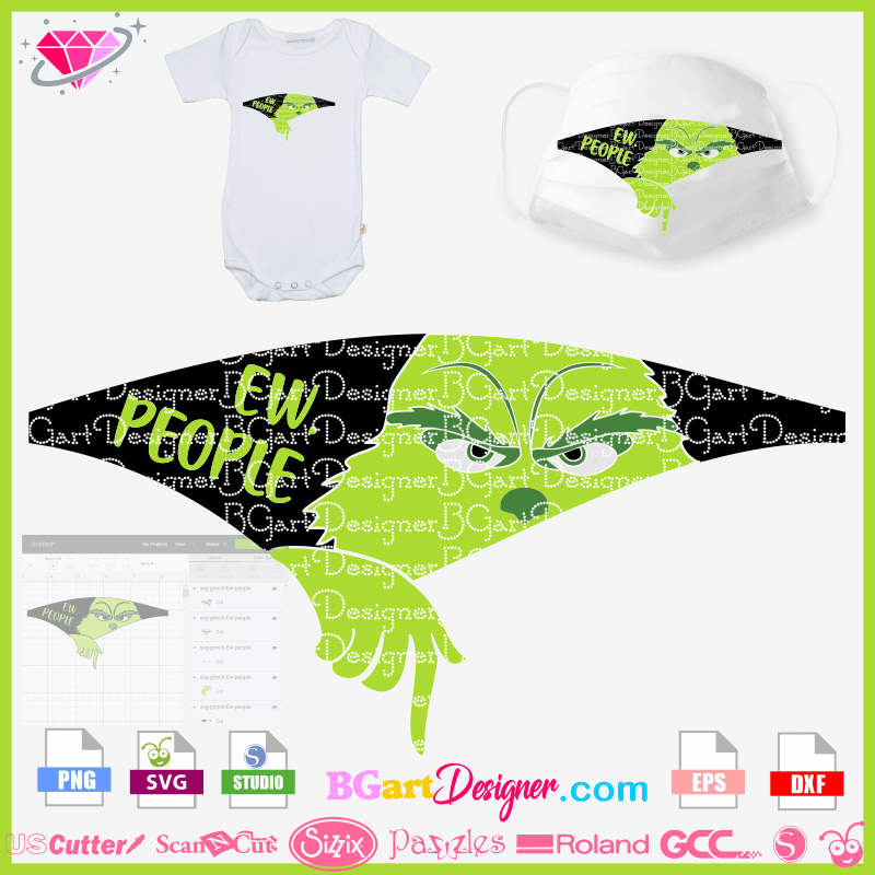 Lllᐅ Download Grinch Ew People Layer Design Cricut Silhouette In 2020 Grinch Face Svg Cricut Mask