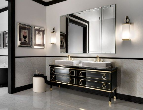Lutetia L1 Luxury Italian Bathroom Vanity In Black Lacquer Gold Wood Art Deco Bathroom Vanity Art Deco Bathroom Luxury Bathroom Vanities