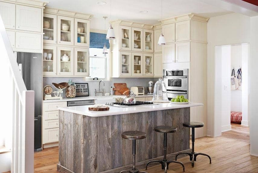 Love the barn wood wrapped kitchen island | Rustic kitchen ...