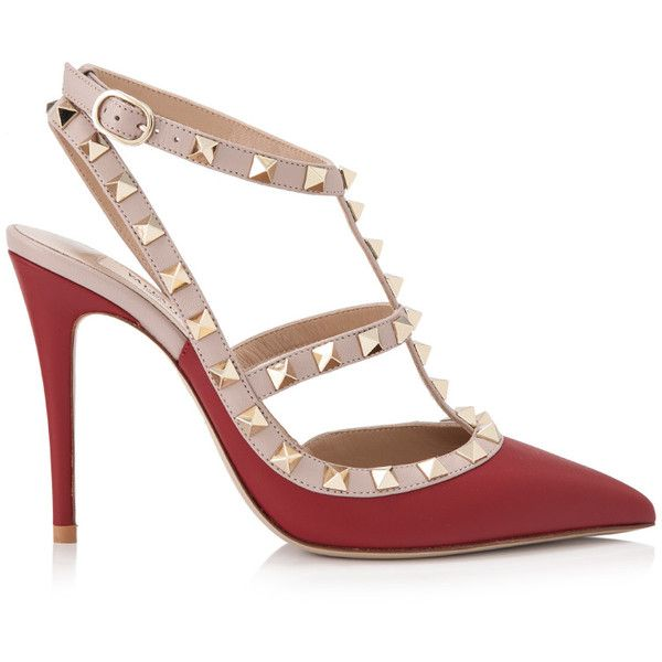 Valentino Garavani Rockstud Ankle Strap Heels ($860) ❤ liked on Polyvore featuring shoes, pumps, ankle tie shoes, ankle tie pumps, ankle wrap shoes, ankle strap pumps and ankle strap shoes