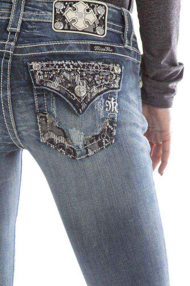 Miss Me Vanessa lace flap pocket bootcut jeans @LalunaCouture