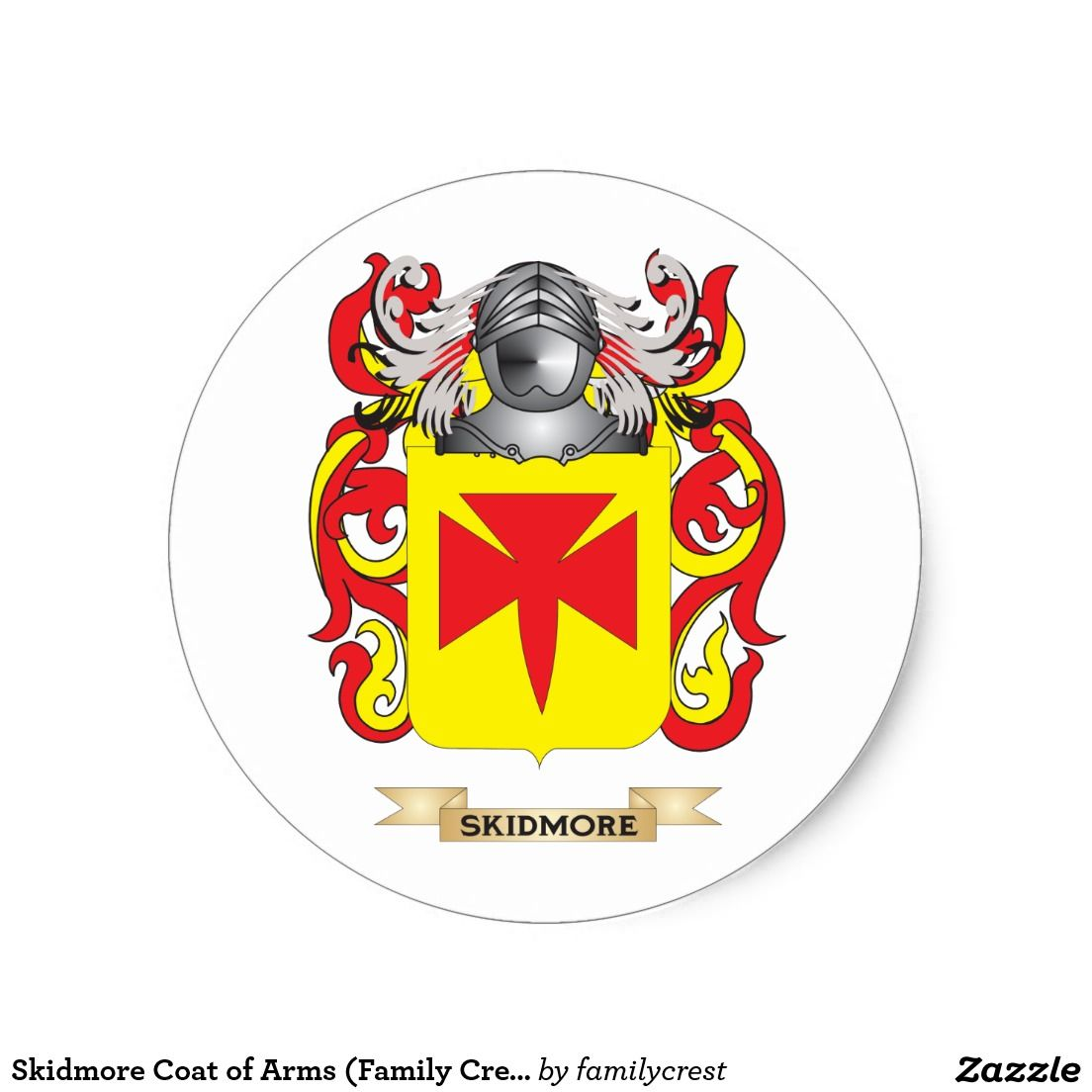 Skidmore Coat of Arms (Family Crest) Classic Round Sticker