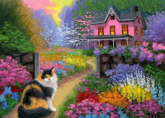 calico cat spring flowers garden path house evening